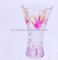 Contracted Style Table Decor Glass Flower Vase With Colorful Printing