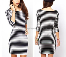 New 2015 Summer Women Dress Short Sleeve O Neck Mini Bodycon Dresses Black White Striped Women Clothes Punk Casual Dress