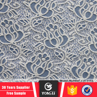 Factory price blue stretch velvet lace fabric in lace