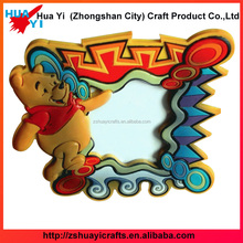 2017 latest cute brown bear design custom pvc rubber photo picture frame