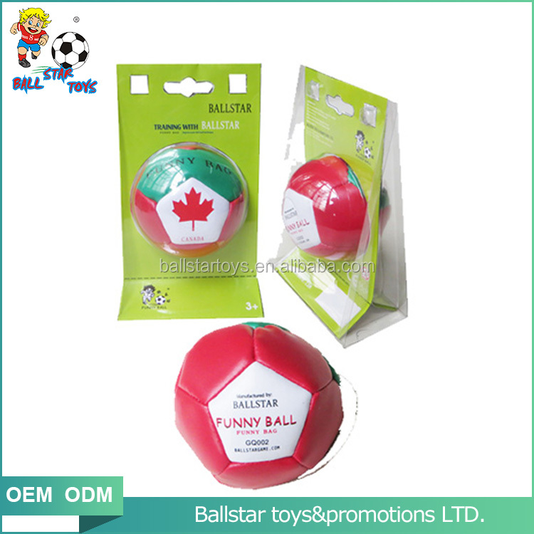 2.5 inch promotion stuffed canada flag hacky sack toys ball for children