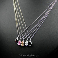 Color Zircon Platinum Plated 925 Silver Necklace