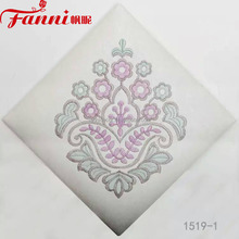 Flower embroider design shiny pvc fabric/embrodery synthetic leather fabric/ synthetic leather with elegant embroidered flowers
