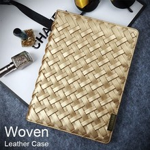 Ladies Woven Leather Cover Stand Wallet Case for Ipad in Fashion with Customized Logo