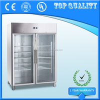 2 Glass Doors Upright Commercial Refrigerator Freezer
