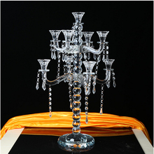 home goods crystal glass candle holder 9 arms crystal candelabra with flower bowl