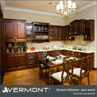 luxury repeated assembled DIY solid wood L shape kitchen cabinet design import from china