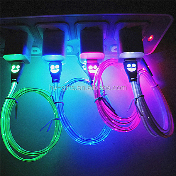fashion glow android led usb cable charge led light usb cable
