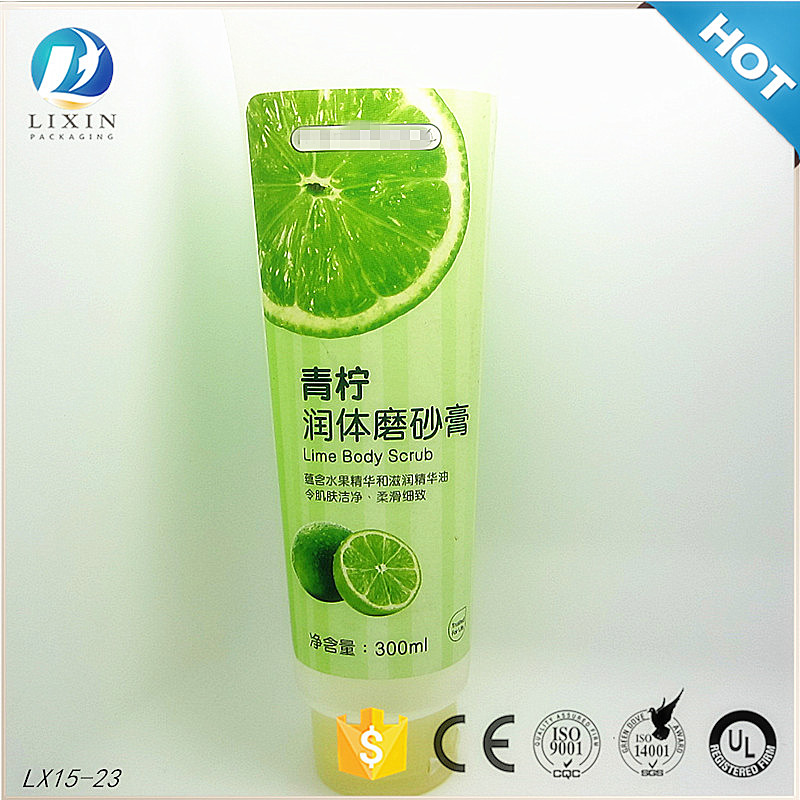 300ml cosmetic plastic tube for packing usage body lotion scrub