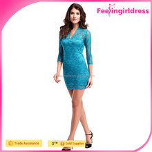 Accept Paypal Cheap Woman Long Blue Sleeve Tight Lace Madi Dress