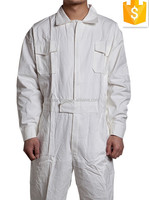 OEM Supply!100%Cotton White Color Work Wear Coverall ,Mens Zipper Front Worker COVER ALL