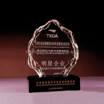 3D laser Engraving crystal block iceberg trophy award plaque for business souvenir