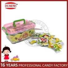 Halal Tablet Center Filled Fruit Hard Candy in Square Jar