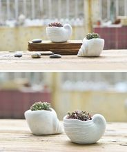 new design unique sea snail shape garden pot desktop succulents plant concrete flower pot