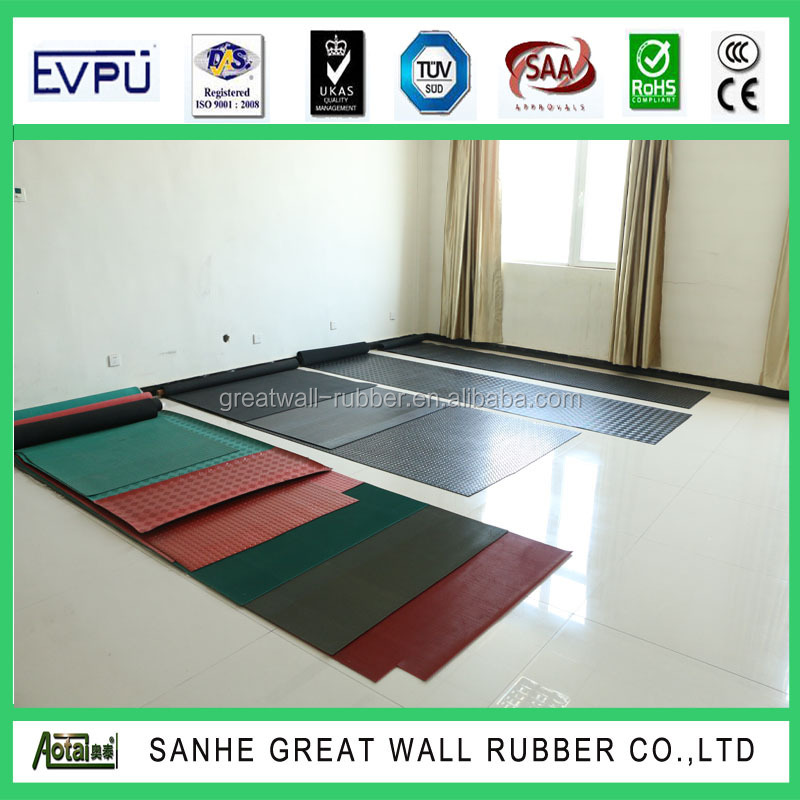 Factory pricing flooring mat hammer cow mat 5mm thickness 2m width with insertion SGS ISO9001
