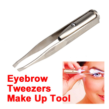 Makeup Tool Stainless Steel Eyebrow Clip Tweezer with LED Light