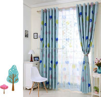 korean style pastoral printed thread curtain for girl's room