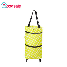 Multipurpose green portable folding shopping bag hanging collapsible pp wheel storage trolley bag