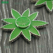 Promotional Gift Smoking Accessories Weed Leaf Design Fidget Spinner Toy Dry Herb Herbal Metal Hand Spinner