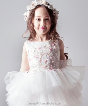 Children Party White Gown Tulle Black Flower Girl Dresses sleeveless baby wedding dress ED715