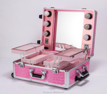Professional Pink Color Rolling Aluminum Makeup Case With Mirror and Light