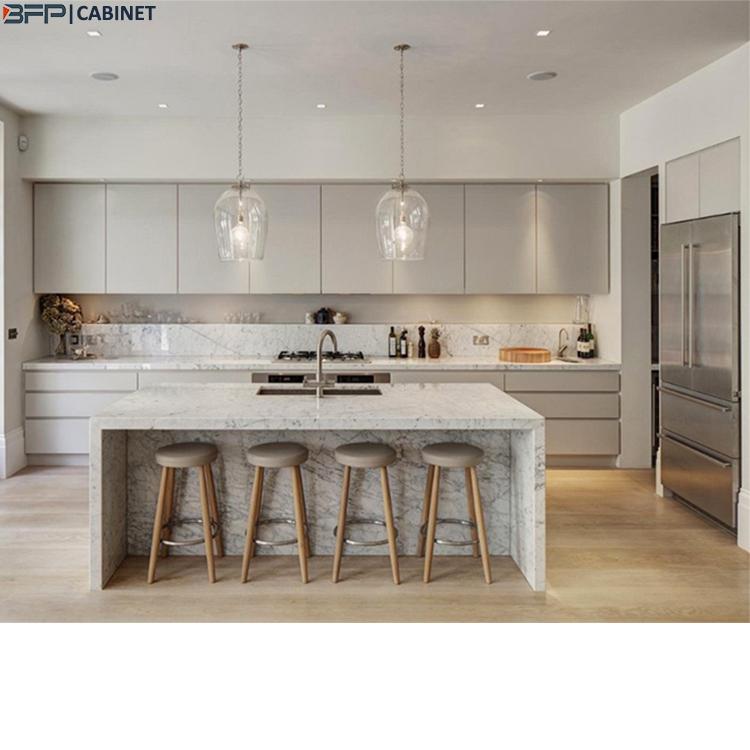 Light Grey Kitchen Cabinets | Modern Matt 2 Pac Light Grey Kitchen Cabinet With Granite Waterfall Island Buy Kitchen Cabinet Grey Kitchen Cabinet 2 Pac Kitchen Cabinet Product On