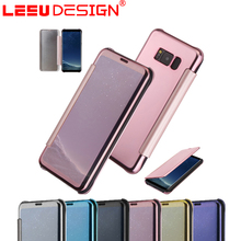 Leather case flip cover wholesale cell phone mirror case for samsun g S8