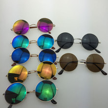 Fashionable Retro Small Round Sunglasses Colorful Reflective Glasses YJ23A