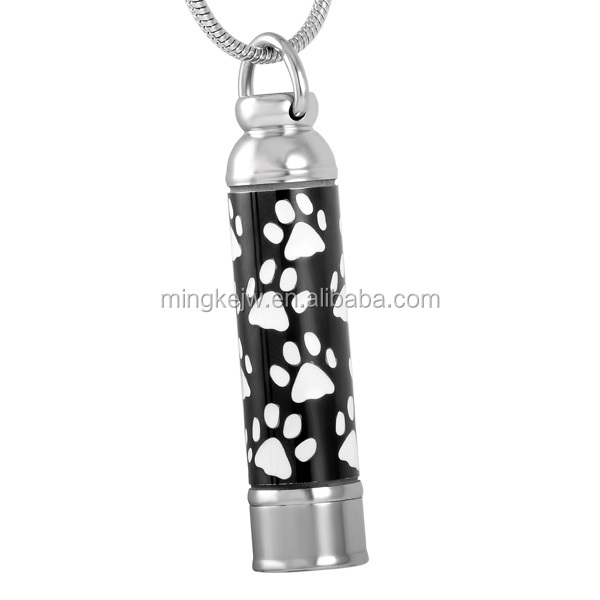 IJD8376 Paw printed cylinder cremation pendant to put ashes pet urn necklace