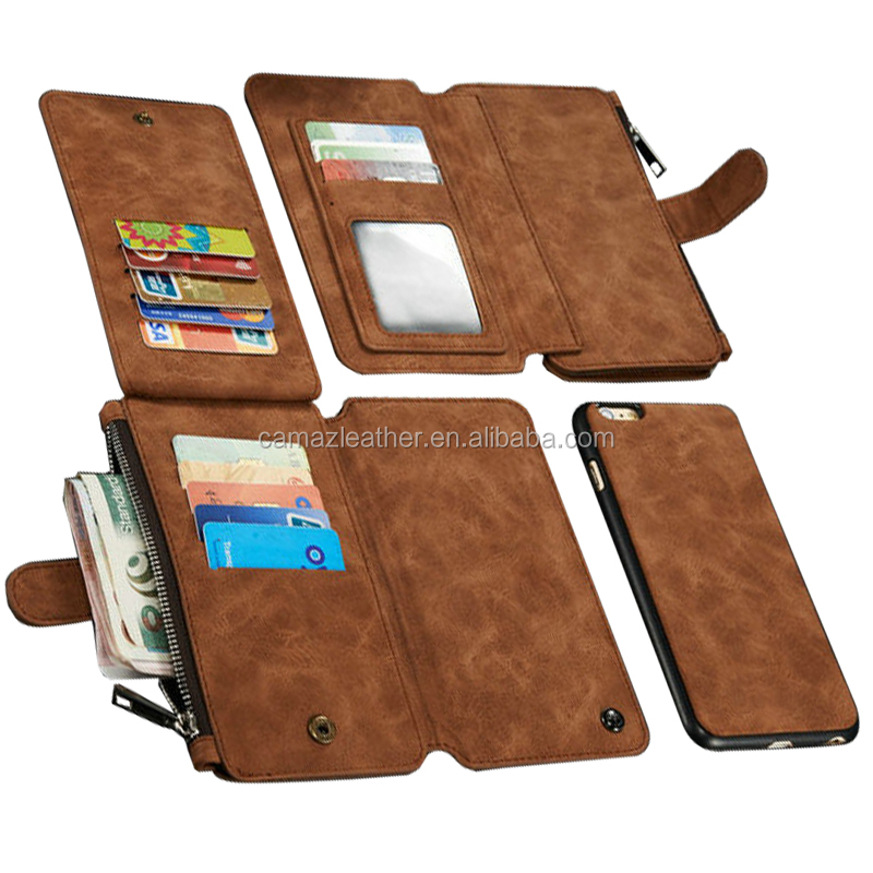 Stand case for iphone 6 leather wallet cover, logo is ok
