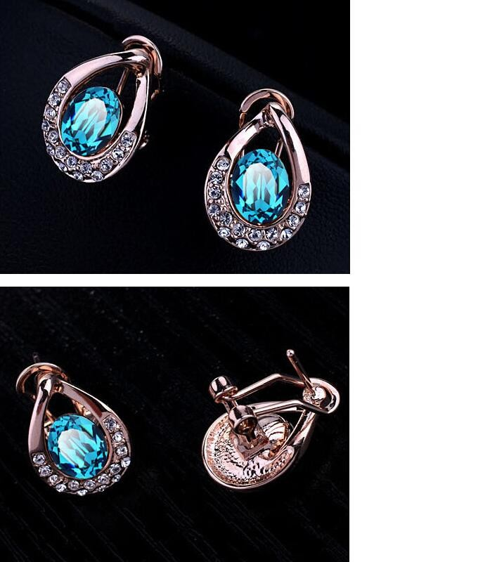 Fashion 18K Gold Plated Austrian Crystal Jewelry Sets For Women Vintage Oval Statement Jewelry Sets Bride Accessories Wholesale