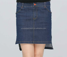 New design H style simple wash split front joint irregular girls denim short jeans skirt