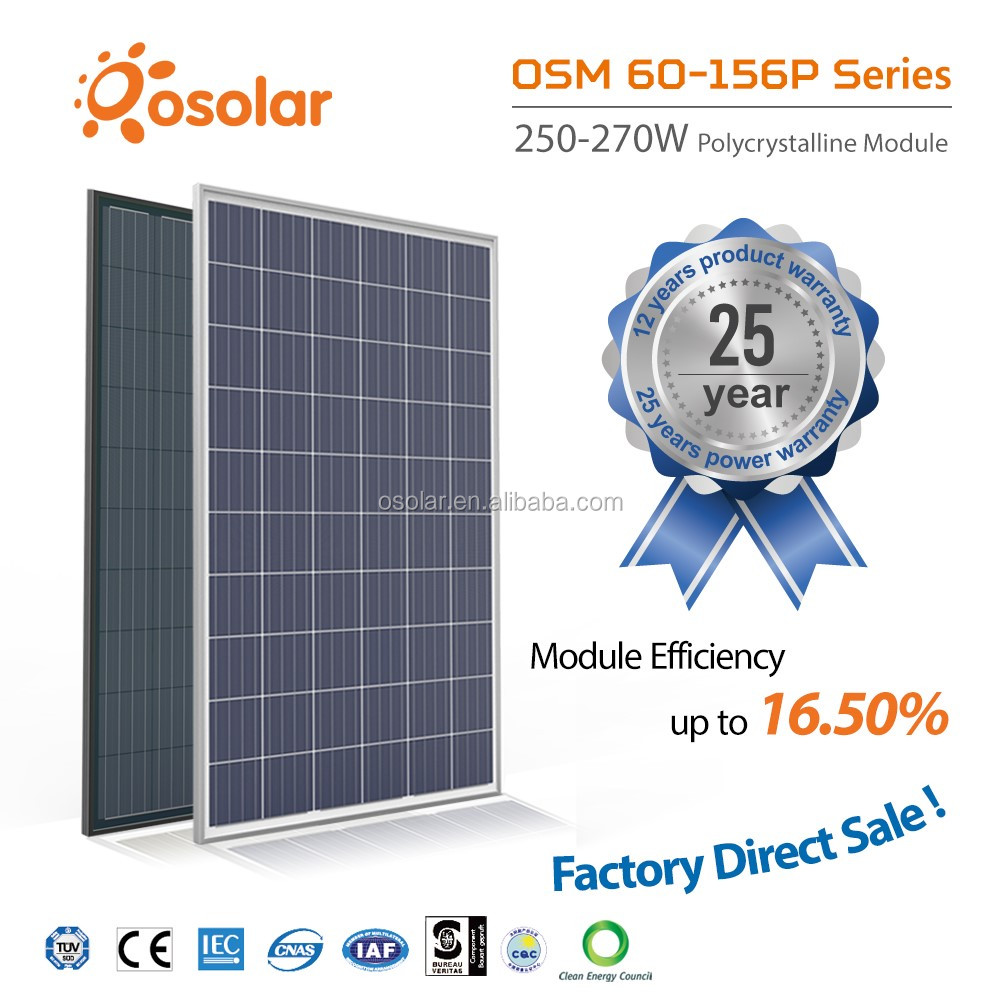 Made in china competitive price high quality high efficiency 250W poly panel solar