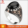 925 silver rings with natural black onyx stone ring gold platinum plated ring