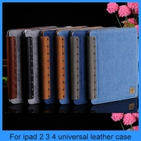 For ipad 2 ipad 3 ipad 4 leather case cover with jean