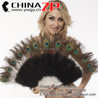Wholesale Handmde Black Peacock Eye Marabou Feather Hand Fan Burlesque Dance Costume