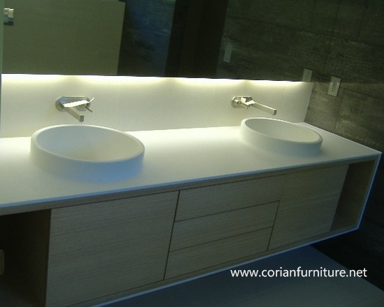 Acrylic solid surface modelling bowl <strong>oak</strong> bathroom cabinets with countertop