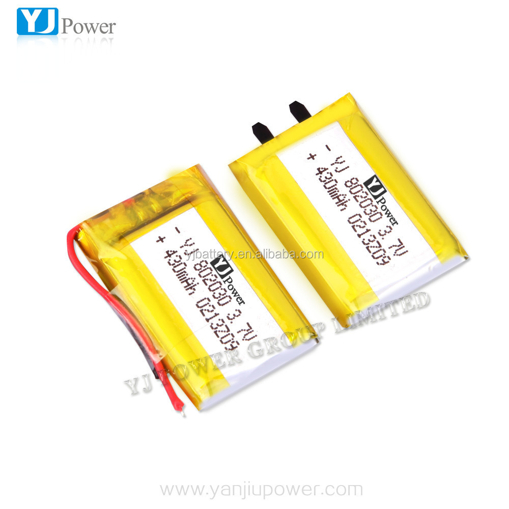 chinese lithium battery factory wholesale price high capacity YJ802030 3.7V 430mAh smart rechargeable li-polymer battery