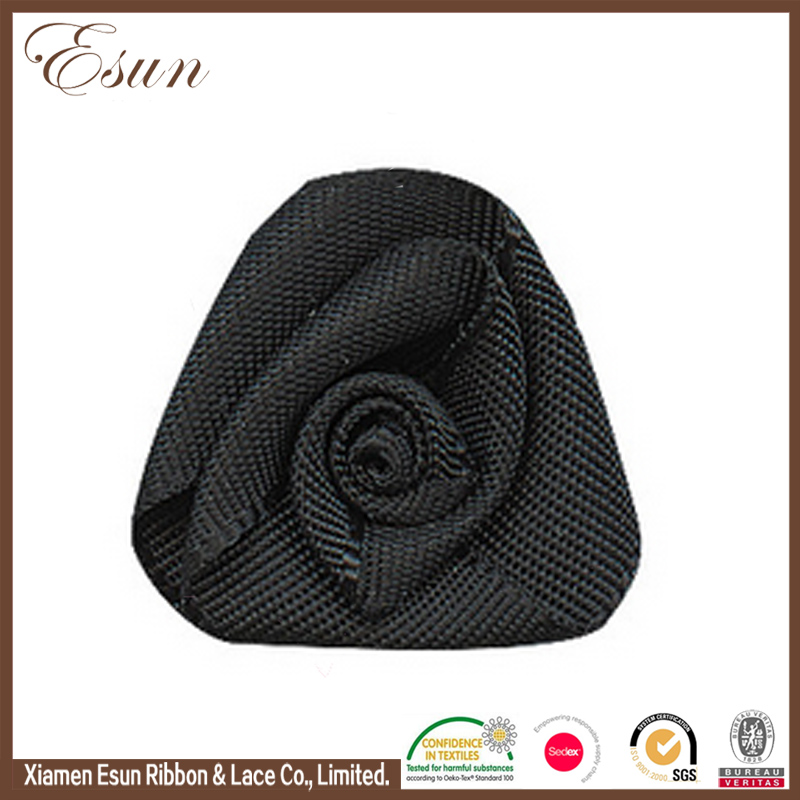 China manufacture black polyester organza mini ribbon roses