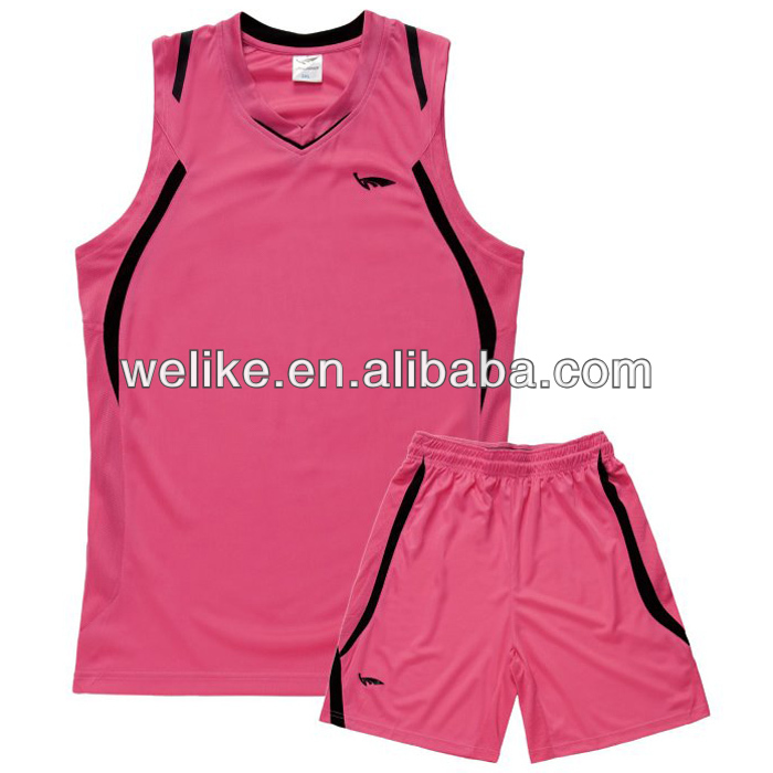 New style women basketball uniform set pink basketball sportswear factory wholesale basketball jersey