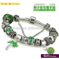 Constellation series leo fashion jewelry handmade murano glass beads bracelet with cute coconut tree and coconut