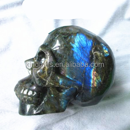 Natural good quality labradorite gemstone carving skull, colorful skull heads,rock crystal skull carving