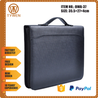 BWA-37 Travel leather document portfolio bag with handle/card holders/notepad/mini snapper pocket