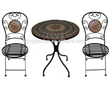 Outdoor garden furniture folding wrought iron and mosaic bistro set