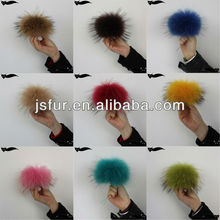 Genuine colorful 12-13cm raccoon fluffy fur ball keychain