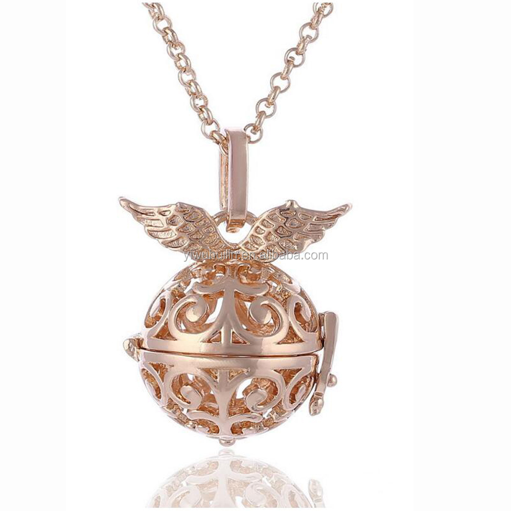 HX027 Yiwu Huilin Jewelry Angel ball locket Essential Oil Diffuser Aromatherapy necklace
