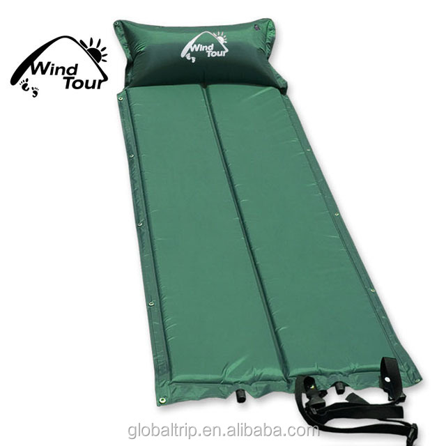 Outdoor Camping Splicied Foldable Self Inflating Foam Air Mat Picnic Rugs With Pillow