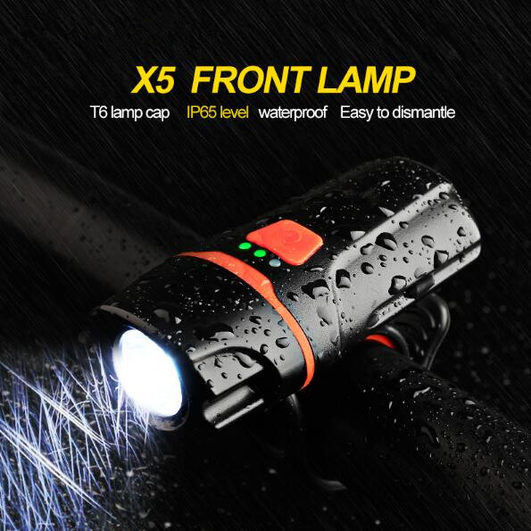 2017 Newest Bicycle Light Waterproof USB Rechargeable T6 LED Bike Light Warning Flashlight Built-in Battery 1200mAh 6 Modes