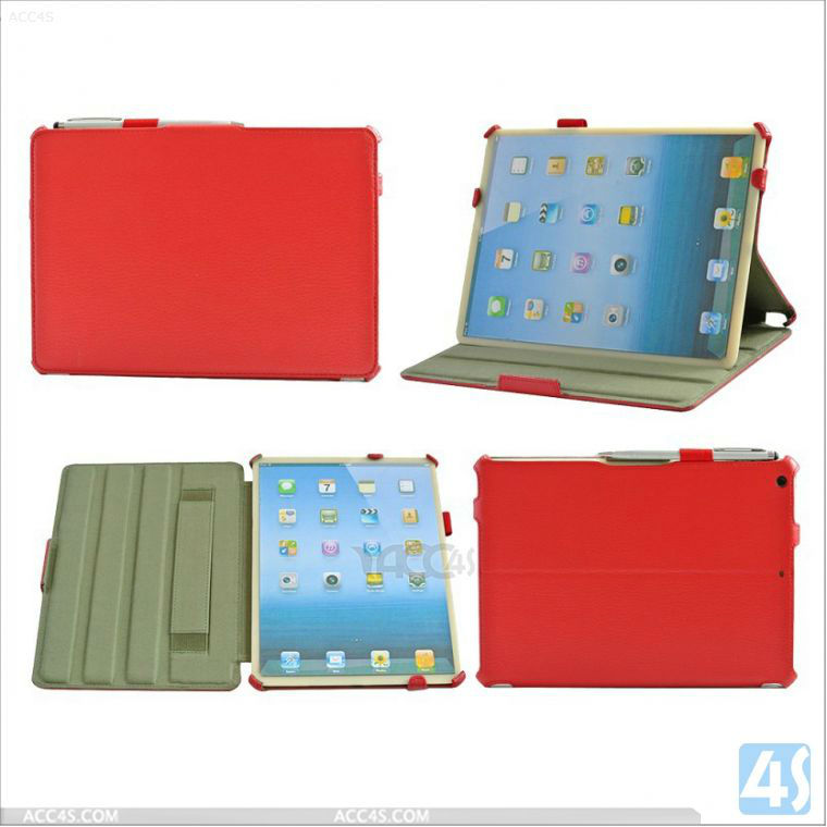2014 Hand Holder Stand Tablet LeatherCase with Pen for Apple iPad 5 P-IPD5CASE008