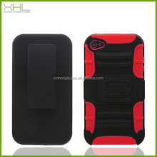 high quality bracket case 3 in 1 sillicone pc streak phone cases for iphone4 4s,latest mobile phone skin cover